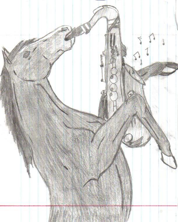 Dibujo - Caballo con saxofón